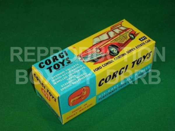 Corgi #491 Ford Cortina Super Estate - Reproduction Box